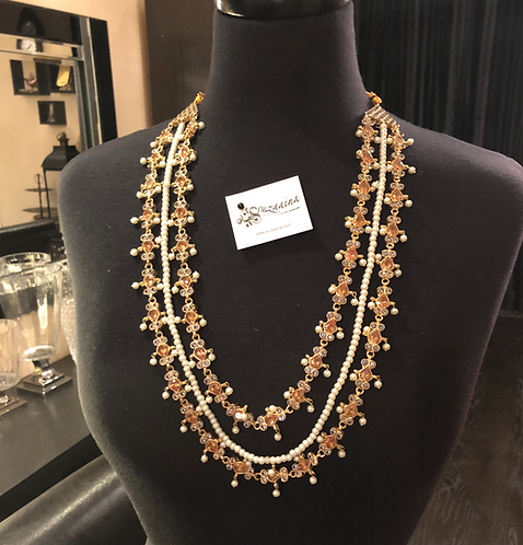 Nayaab 22k Goldplated Handcrafted Multilayered Mala in Citrine stone.