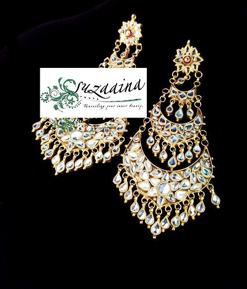 Ohana 24k Gold plated Handcrafted Kundan Earrings.