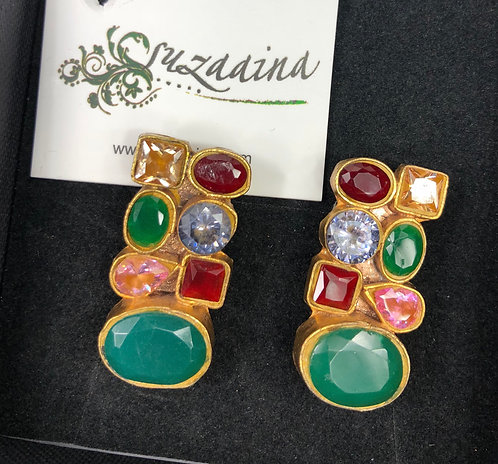 Hira Multi stones 22k Gold plated Handcrafted Earrings.
