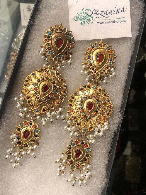 Naurattan Rani 22k Gold plated Handcrafted Earrings.