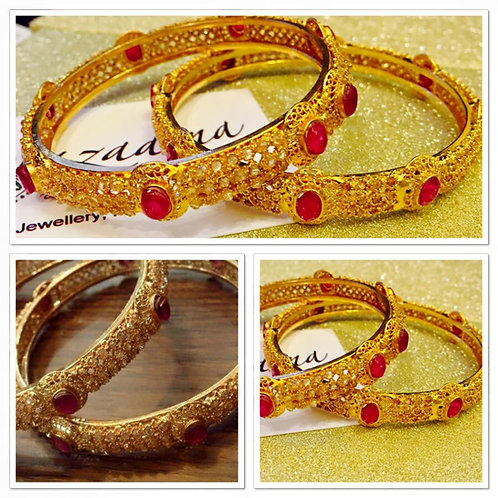 Ruby 22k Gold plated Handcrafted bangles (Pair)