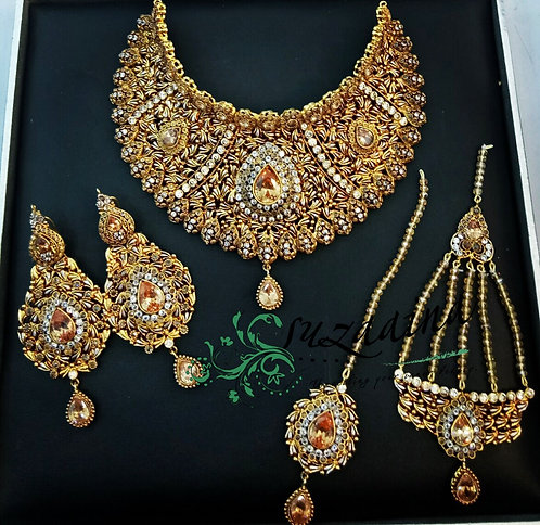 Angola 22k Gold plated Handcrafted Bridal Set .