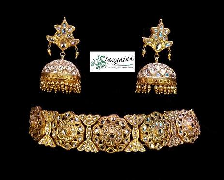 Mughli 22k Gold plated Handcrafted Thappa kundan Set