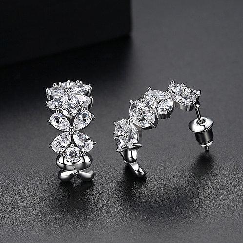 Juana 22k Gold plated & Platinum Plated Flower Stud Zirconia Earrings.