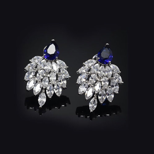 Rohan White gold plated Zircon Statement Earrings .