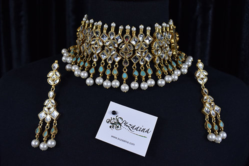 Diana 24k Gold plated Handcrafted Choker Bridal Set