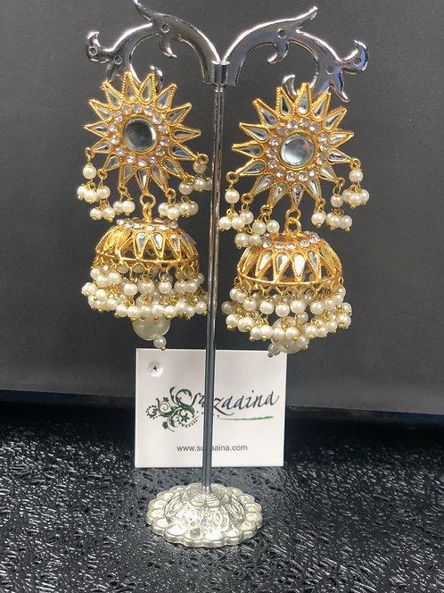 Mumtaz 22k Gold plated Kundan Single layered Jhumkey