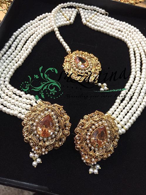Shimmer 22k Gold plated Earrings Tikka Set