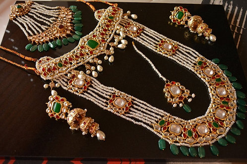 Gold plated emerald, rubies and pearls mala full set