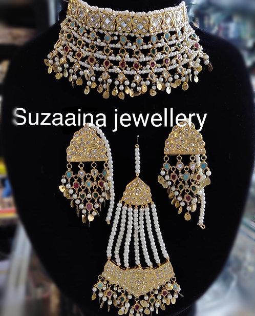 Zurriya 22k Gold plated Handcrafted Kundan Set.