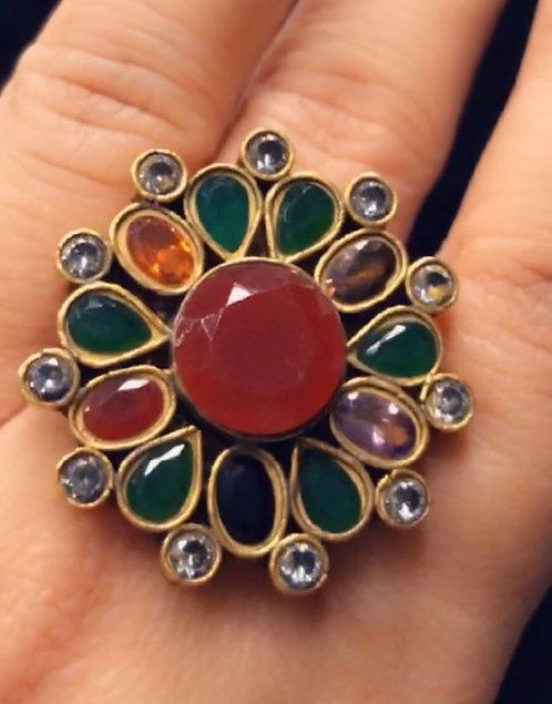 Mehru 22k Gold plated Kundan Ring.