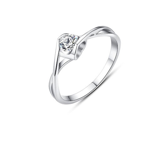 Hurrem 925 Sterling Silver Cubic Zirconia Classic Band Ring