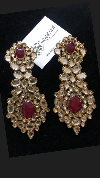 Aleena 22K Gold plated Handcrafted Ghutka Kundan Earrings .