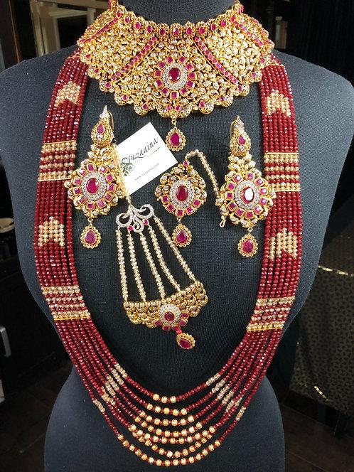 Dareefa 22k Gold plated Handcrafted Bridal Set.