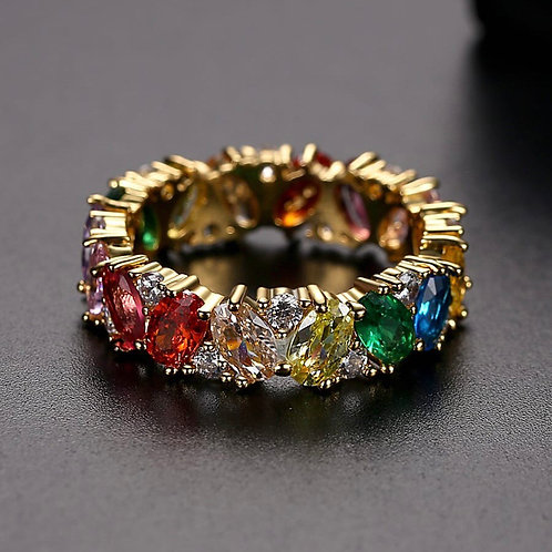 Hareeb 18k Gold plated / rose Gold Cubic Zirconia Multi stones Ring Band.