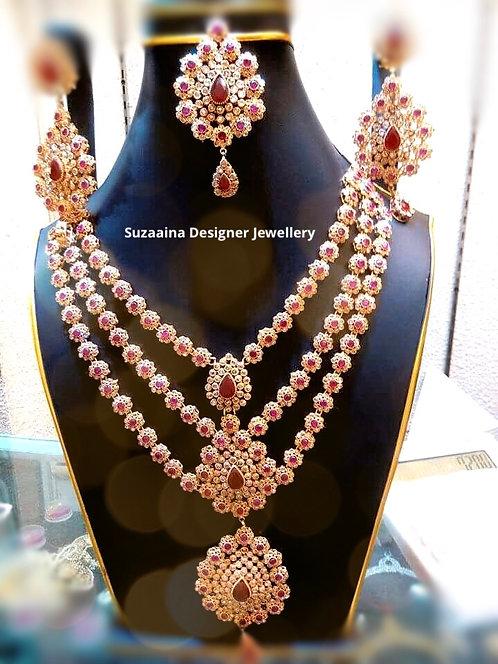 Maikal 22k Gold plated Handcrafted Diamond polki Bridal Set.