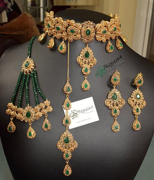 Subhani 22k Gold plated Handcrafted Choker Bridal Set