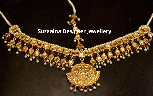Hameel 24k Gold Plated Handcrafted thappa kundan Matha Patti.