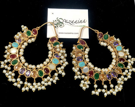 Rangoli 22k Gold plated Handcrafted Multi stone Kundan Baley
