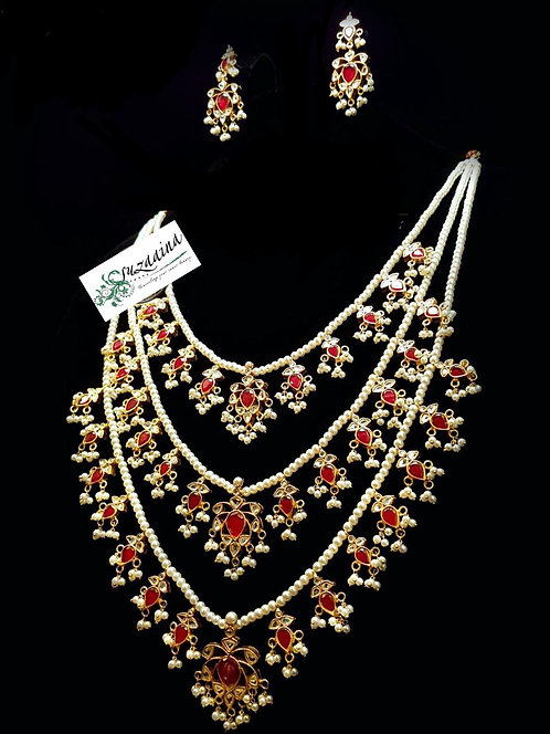 Jasim 22k Gold plated Handcrafted kundan Mala Set.