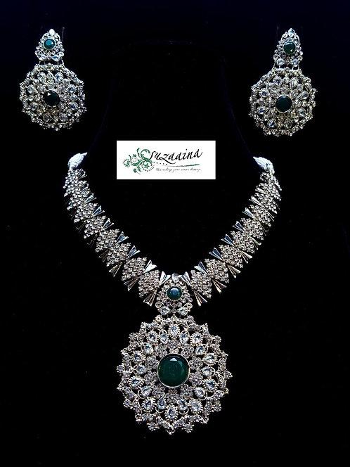 Angoza zircon and emerald Bridal Set.