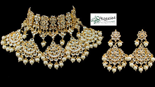 Jugnu 22k Gold plated Handcrafted Choker Bridal Set.
