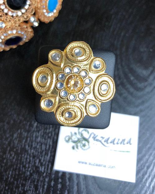 Kindle 22k Gold plated Handcrafted Kundan Ring (Adjustable size)