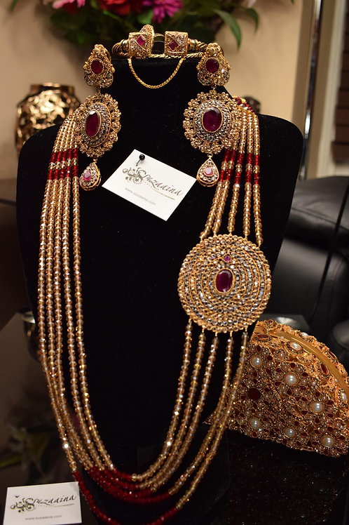 Zareen 22k Gold plated Multi Layered Broach Mala Set.