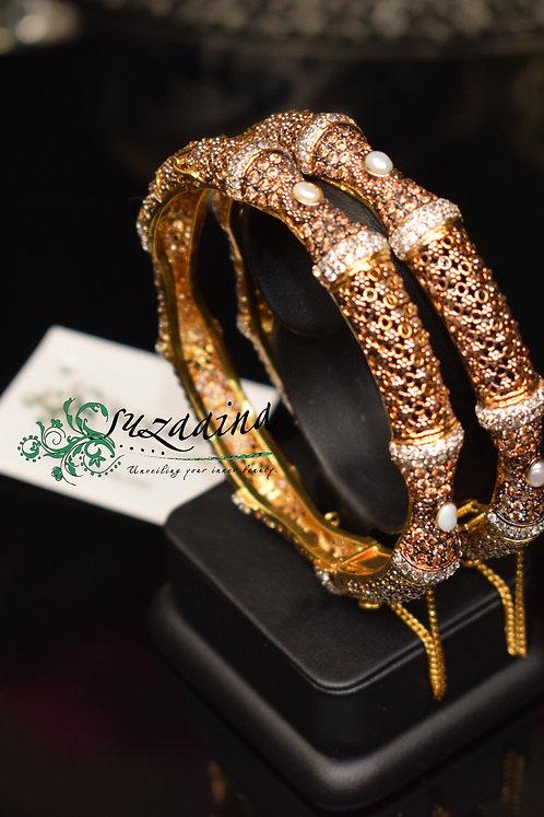 Elayna 24k Gold and Rhodium plated Bangles.