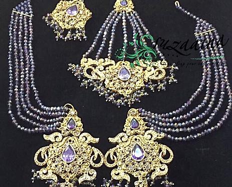 Malika 22k Gold plated Jhumar Tikka and Earrings Set