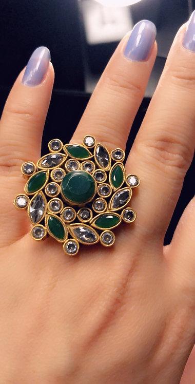 Dora 22k Gold plated Handcrafted Kundan Ring.