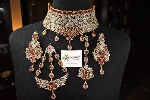 Maroosh 22k Gold plated Grand Collar Bridal Set.