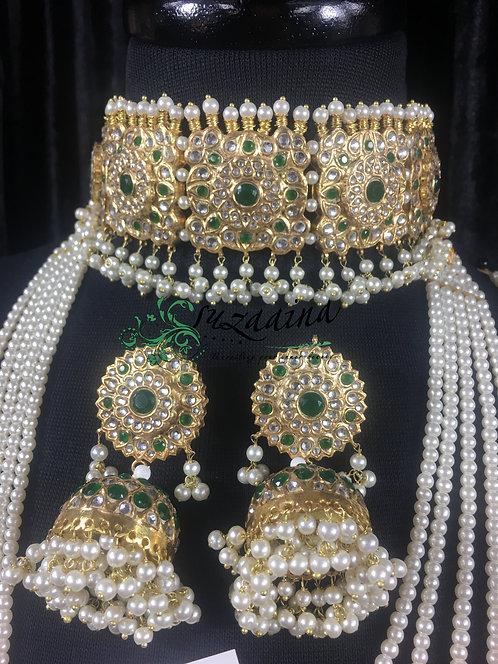 Isra 22k Gold plated Handcrafted Choker Bridal Set