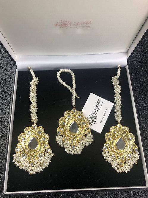 Nurani 22k Gold plated Kundan Earrings Tikka Set