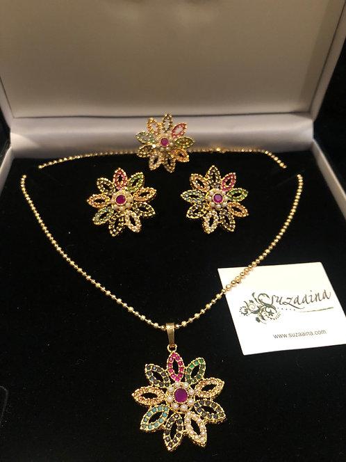 Naurangi 22k Gold Plated Handcrafted Pendant Set