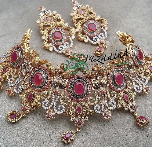 Zumlan 22k Gold plated Handcrafted Bridal Set.