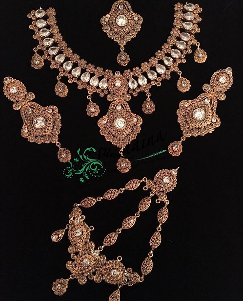 Hakeel 22k Gold plated Handcrafted Bridal Set.