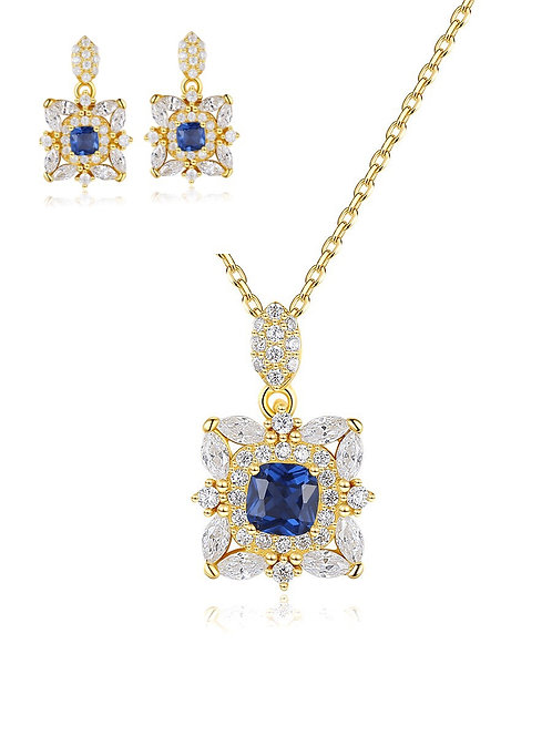 Luxe 925 Sterling Silver Cubic Zirconia Pendant Set.