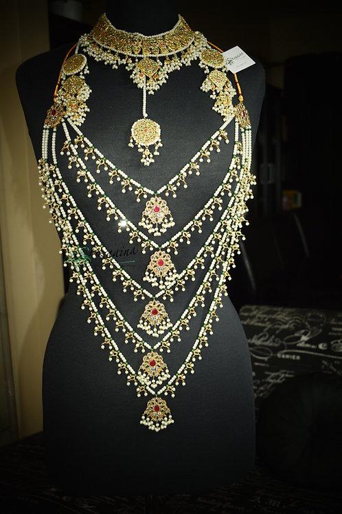 Naulakha Mala & Bisma Double Sided 24k Gold plated Handcrafted Bridal Set