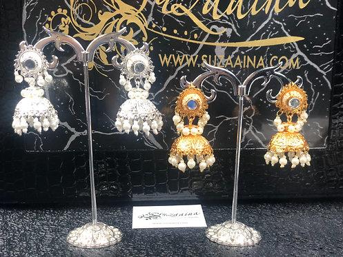 Khushi 22k Gold plated Kundan Jhumki