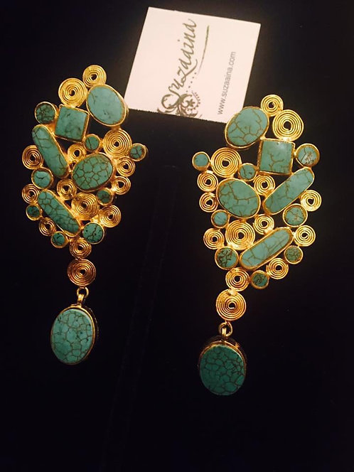 Swirl 22k  Gold plated Handcrafted Danglers