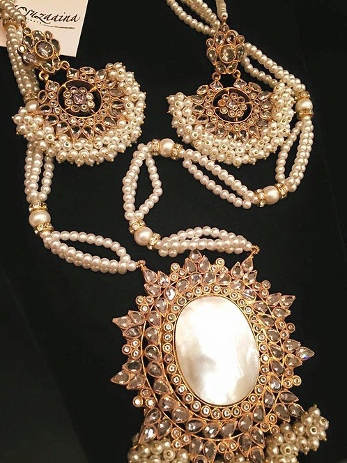 Punkh 22k Gold plated Handcrafted Kundan and Pearls Mala set