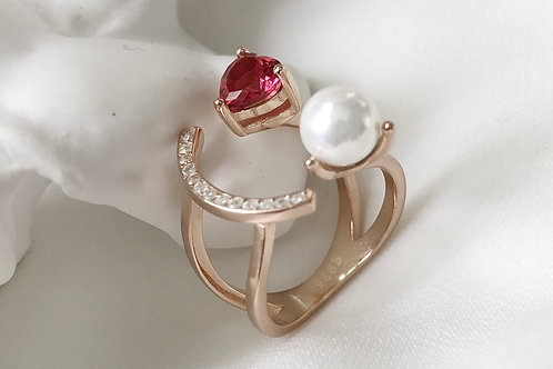 Joel 925 Sterling Silver Cubic Zirconia Ruby & Pearl Dainty Band Ring
