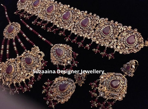 Husana 22k Gold plated Handcrafted Choker Bridal Set