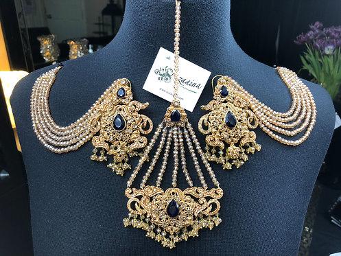 Malika 22k Gold Plated Earrings, Jhumer & Tikka Set