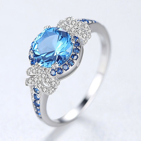 Blue sky 925 Sterling Silver Sapphire Ring.