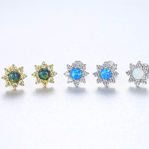 Shella 925 Sterling Silver Opal Flower Classic Stud Earring.