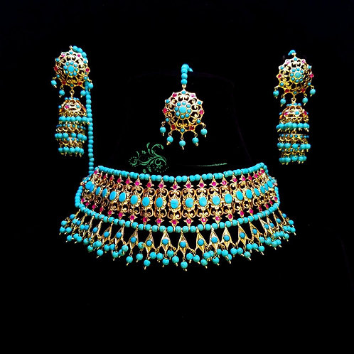 Mahiwal 22k Gold plated Bridal Choker Set