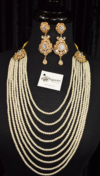 Zauq 22k Gold plated Pearls Mala Set.