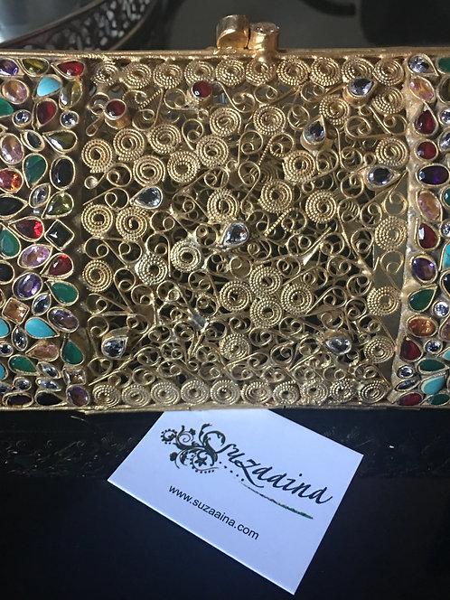 22k Gold Plated Clutch with multi semi precious stones